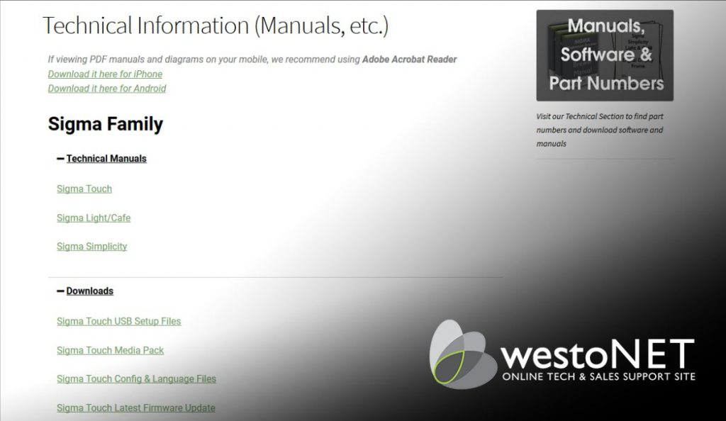 Screenshot of westoNET Technical information page
