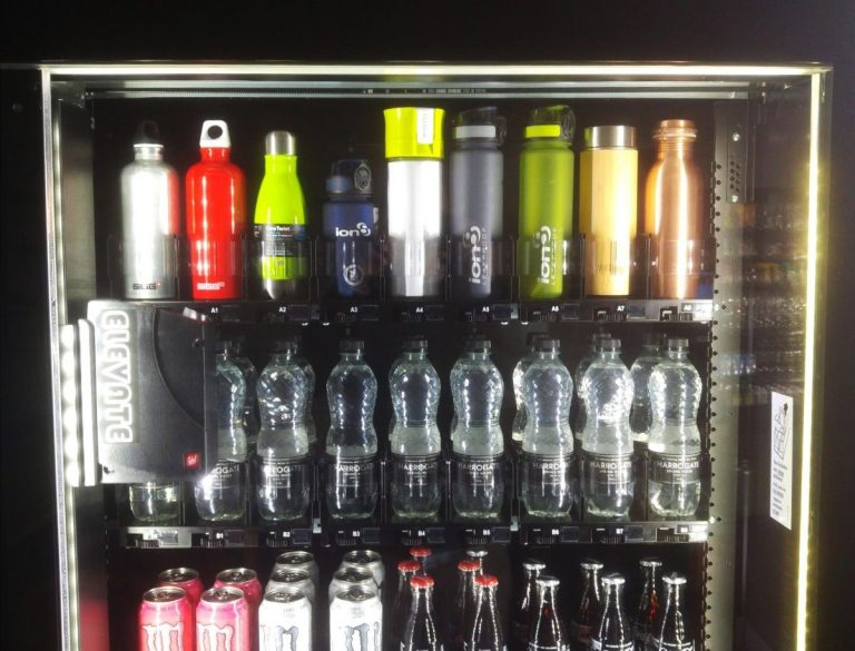 Top section of Elevate machine showing reusable bottles