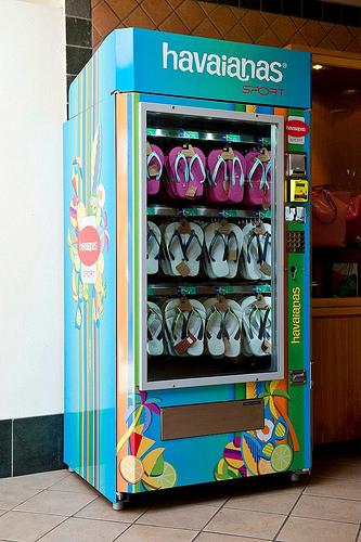 Vending machine with flip flops inside