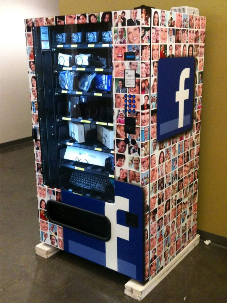 Facebook vending machine with electrical equipment inside